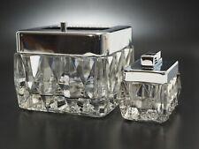 Aschenbecher & Gas Feuerzeug Kristallglas & Chrom 1970er Design Erhardt & Söhne
