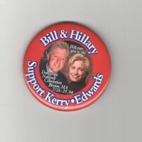2004 BILL and HILLARY Clinton pin DEMOCRATIC CONVENTION pinback KERRY & EDWARDS