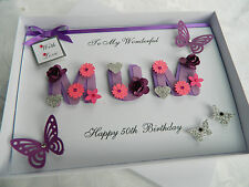Personalised Handmade Mothers Day/Mum Birthday Card 40 th 50 th 60th with BOX BM