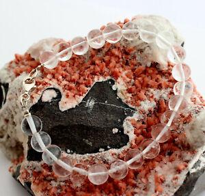 Rock Crystal Bracelet Natural Gemstone Bracelet Colorless White 925 Silver Lock