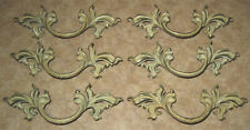 6 VTG French Provincial Drawer Pull Ivory Trim Brass Handle P1751 Keeler Belwith