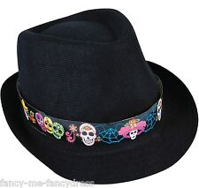 Mens Ladies Day of the Dead Fedora Hat Halloween Fancy Dress Costume Outfit