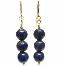 Lapis Lazuli Gemstone Beads 9ct Gold Hook Earrings Protection Stone