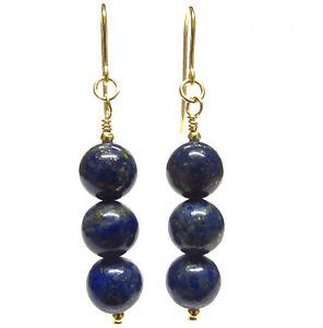9ct Gold Blue Lapis Lazuli Earrings, 8mm Round Blue Gemstone Bead Dangle Drops