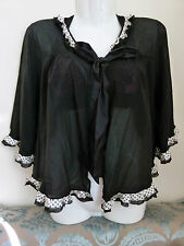 MYLA 100% silk black Magnolia bed jacket with bow ribbon Size S- Made in Italy