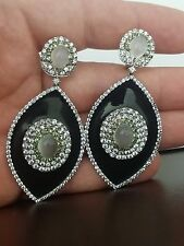 Moonstone, Tourmaline & Sapphire Large Sterling Silver Dangle Drop Earrings