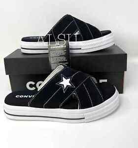 Converse One Star Women's Sandal Slides Suede Slip Black Egret Size W 564143C