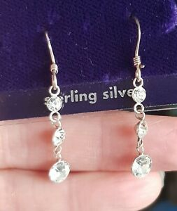 925 STERLING SILVER CRYSTAL DIAMONTE DROP DANGLE EARRINGS CLAIRES ACCESSORIES