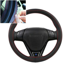 manual Sewing Steering Wheel Covers 38cm Micro Fiber comfortable Leather  red