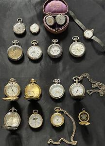 KONVOLUT! 17 alte & antike Taschenuhren, Uhren SILBER LONGLINES ua 19 Jh. Cylind