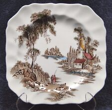 "Johnson Brothers The Old Mill Square Salad Plate 7 3/4"" Multi-Color EXCELLENT"