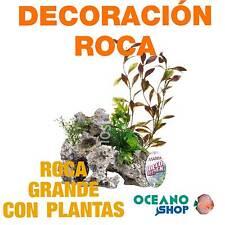 Ornamento Deco Rock con Plantas MARINA - Grande acuario pecera tortuguera