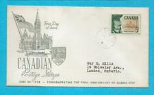 Canada 1958 Fdc - Founding Of Quebec City - N739