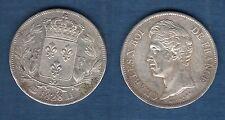 Charles X , 1824 - 1830 - 2nd Type d'effigie - 5 Francs 1828 D Lyon TB TTB