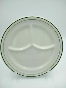 Vintage JACKSON CHINA Divided Plate Restaurant Ware Green Double Band USA