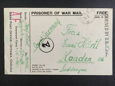 1944 Canada POW Prisoner of War Camp 132 Postcard Cover to Sudetengau Germany