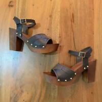 Nicola Vegan Studded Brown Platform Clogs Sz 6 - 11 NIB