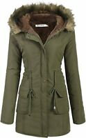 Beyove Womens Hooded Warm Winter Coats with Faux Fur Lined, Green, Size X-Large