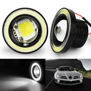 "3.5"" Round COB LED Fog Light Projector Car Bright Angel Eyes Halo Ring DRL Bulbs"
