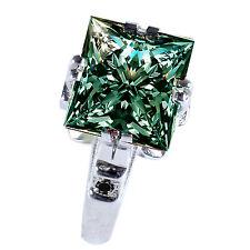 Natural Black Diamond .925 Silver Ring 4.40 ct vs1/ Green Princess Moissanite&
