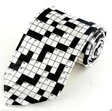 Crossword Puzzle Mens Necktie Newspaper Puzzles Novelty Game White Neck Tie New