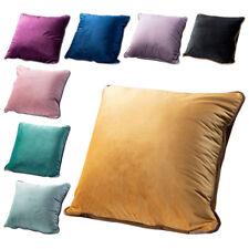 Kissenbezug Kissenhülle velvet Samt Luxus 50x50 Multi Farben mit Paspel Rand