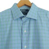Polo Ralph Lauren Mens Regent Custom Fit Dress Shirt Size 17 XL Green Blue Plaid