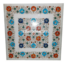 """30"""" Marble Side Coffee Table Top Multi Inlay Marquetry Room Mosaic Decor H962A"""