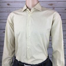 Ermenegildo Zegna Mens Yellow Plaid French Cuff Dress Shirt 16 1/2 34/35 Spain