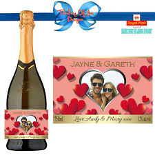 PERSONALISED PHOTO PROSECCO CHAMPAGNE BOTTLE LABEL ENGAGEMENT ANY OCCASION GIFT