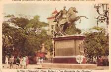 Caracas Venezuela Plaza Bolivar Monument Antique Postcard J47822