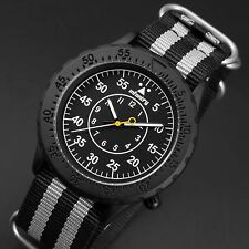 INFANTRY Mens Quartz Analog Wrist Watch Luminous Sport Black /Gray Nylon Fashion