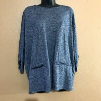 Premise Studio Women's Blouse Top Blue Gray Dolman Sleeve Plus Size 1X