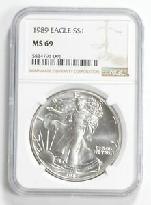 1989 MS69 NGC Brown Label American Silver Eagle Graded *0552