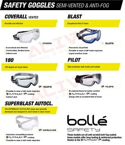 Bolle Safety Goggles Ventilated Frame Fit Over Glasses Spectacles Anti-fog Lens