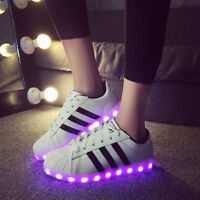 Unisex LED Light USB Lace Up Sneaker Sportswear Striped Luminous Casual Shoes
