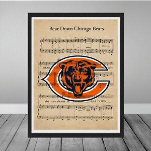 Vintage Bear Down Chicago Bears Fight Song Music Logo Football Gift Art Poster