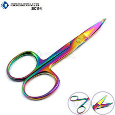 Sharp Curved Cuticle Nail Scissors 3.5'' Rainbow Multi-Color Stainless Steel