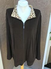 New $89 Chico's Travelers Chocolate Chip Brown Leopard Jacket Sz 3 XL 16 18 NWT