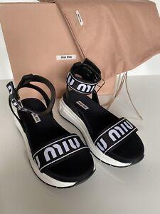 NIB PRADA Miu Miu Women's Black Sport Sandals Flip Flops 8 US (38 Eu) 5X554C IT
