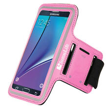 SumacLife Pink Neoprene Sport Armband Case For Samsung Galaxy Note 5 / 4 / Edge