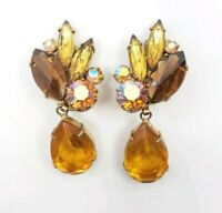 Vintage Possibly D&E Juliana Dangle Amber Glass Rhinestones Drop earrings
