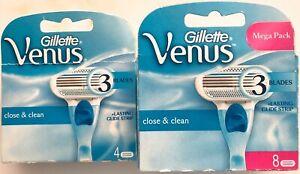 4 or 8  Gillette Venus SMOOTH CLOSE & CLEAN Women's 3 Blade Razor Cartridge
