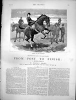Old Print From Post To Finish Dollie Turns Schoolmistress Horseback 1884 19th