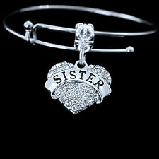 Sister Bracelet   crystal heart charm style  Family gift   sorority jewelry