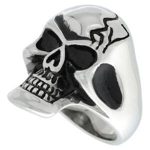 Stainless Steel Gothic Biker Skull Ring w/ Cracks on Forehead