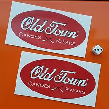 Old Town Vinyl Decals Stickers x2  KAYAK & CANOE waterproof maroon background