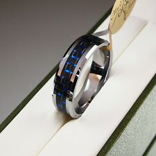 Mens Tungsten Carbide Ring Silver Wedding Engagmnet Inlay Band Size S 18.9 mm 1