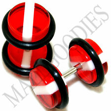 1140 Fake Faux Cheaters Illusion Acrylic Plugs Ear 16G Red White Stripes 0G 8mm