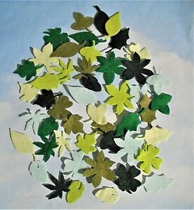 Felt die cut leaves x 48 mixed green colours embellishments toppers